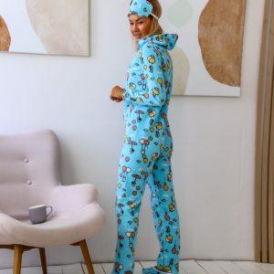 Приобрести женский яркий комбинезон с тапками и повязкой в комплекте (размер 42-50) по низким ценам голубого цвета