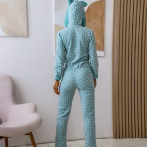 Приобрести женский спальный комбинезон в горошек из плюша (размер 42-50) голубого цвета недорого