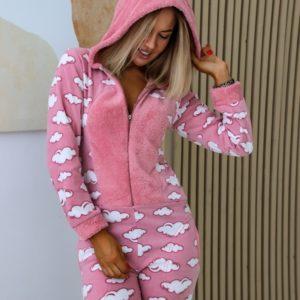 Приобрести женский плюшевый комбинезон в облака с хвостиком (размер 42-50) розового цвета дешево
