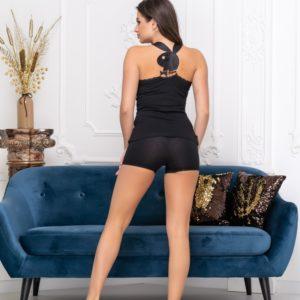 Замовити чорний комплект Playboy майка + шорти дешево для жінок