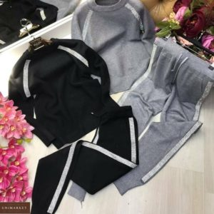 Купить черный, серый прогулочный костюм вязаный с лампасами для женщин по скидке недорого