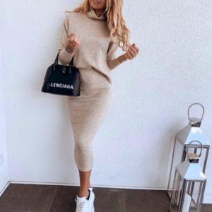 Заказать беж женский костюм из ангоры: юбка миди+свитер (размер 42-60) в интернете