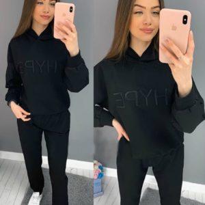Заказать черный спортивный женский костюм с вышивкой Hype онлайн