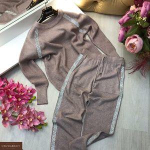 Заказать мокко женский прогулочный костюм вязаный с лампасами онлайн