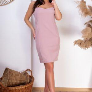 Купить женский костюм в полоску: платье+пиджак (размер 42-54) цвета пудра недорого