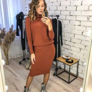 Купить женский по скидке костюм из трикотажа косичка: гольф+ юбка (размер 42-48) терракот