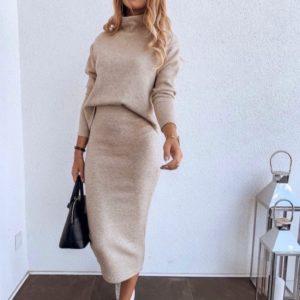 Купить женский костюм из ангоры: юбка миди+свитер (размер 42-60) бежевого цвета на осень по скидке