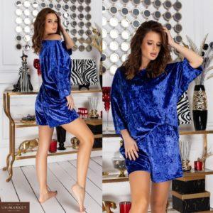 Купити по акції оксамитовий костюм з шортами для сну (розмір 42-62) кольору електрик жіночий