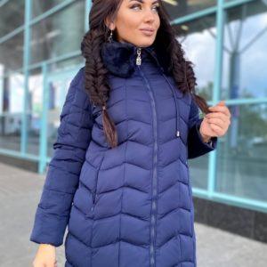 Купить синюю женскую теплую куртку с искусственным мехом (размер 46-48) онлайн
