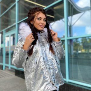 Заказать серебро женскую зимнюю куртку-парку на меху (размер 42-48) онлайн