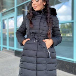 Купити жіночу куртку на холлофайбері з хутром (розмір 46-48) на зиму чорного кольору онлайн