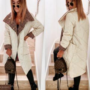 Заказать беж женскуюдвухстороннюю куртку с накладными карманами (размер 42-52) дешево