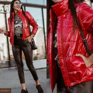 Купить в интернете красную глянцевую куртку на синтепухе для женщин