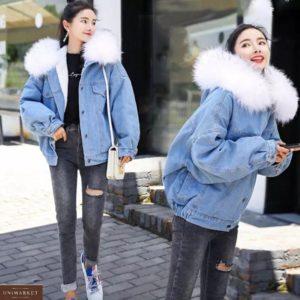 Купити білу зимову джинсовку на хутрі з капюшоном вигідно для жінок
