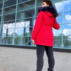 Приобрести женскую куртку из водонепроницаемой плащевки с капюшоном (размер 42-52) красного цвета по низким ценам