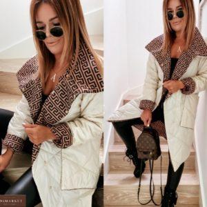 Приобрести женскую двухстороннюю куртку с накладными карманами (размер 42-52) бежевого цвета недорого