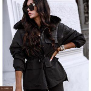 Купить черную женскую на зиму теплую парку-комбинацию с эко мехом (размер 42-52) по низким ценам