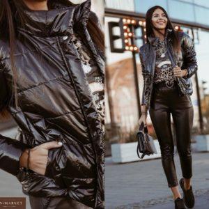 Заказать черную глянцевую женскую куртку на синтепухе онлайн