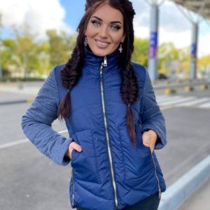 Купить двухцветную куртку со змейками (размер 42-48) синюю на весну и осень выгодно