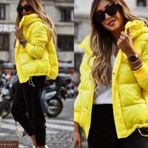 Приобрести желтого цвета глянцевую куртку с капюшоном (размер 42-52) по скидке для женщин