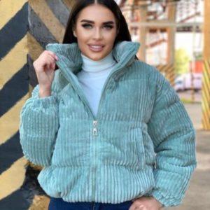 Приобрети фисташка куртку из вельвета с наполнителем (размер 44-48) для женщин в интернете