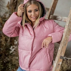 Замовити куртку з капюшоном на утеплювачі (розмір 42-54) для жінок рожевого кольору за низькими цінами