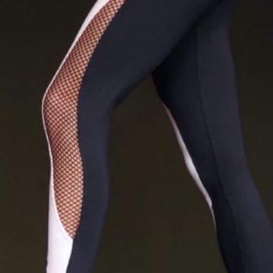 Заказать белые женские эластичные лосины со вставкой из сетки недорого