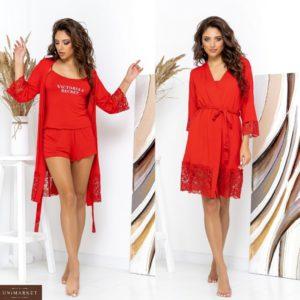 Приобрести комплект Victoria's Secret: трикотажная пижама с шортами+халат (размер 42-62) красного цвета женский в Украине