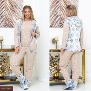 Купити бежеву піжаму жіночу з теплим жилетом + домашні чобітки (розмір 42-62) онлайн