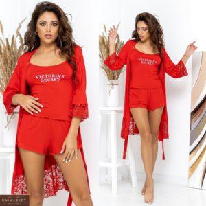 Заказать красного цвета комплект женский Victoria's Secret: трикотажная пижама с шортами+халат (размер 42-62) недорого