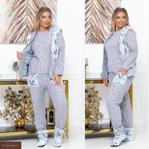 Замовити сіру піжаму з теплим жилетом + домашні чобітки (розмір 42-62) по знижці для жінок