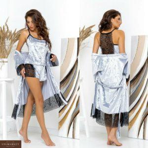 Замовити жіночу піжаму з шортами + халат з велюру з мереживом (розмір 42-62) білого кольору за низькими цінами