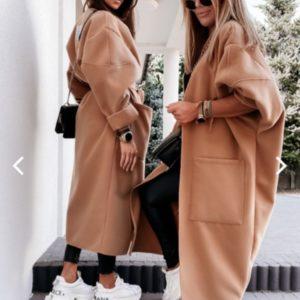 Купить женское бежевое пальто-одеяло oversize из кашемира онлайн