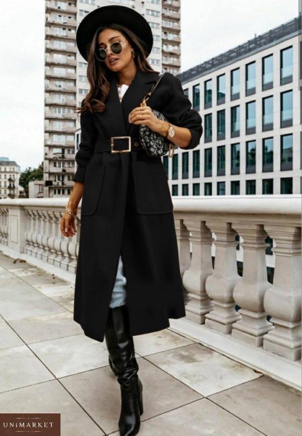 Купить на осень черное оверсайз пальто с поясом и карманами (размер 42-56) для женщин выгодно