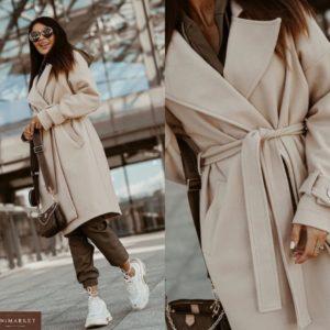 Заказать беж пальто для женщин из кашемира с поясом и карманами онлайн