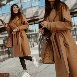 Купить женское пальто из кашемира коричневое с поясом и карманами онлайн
