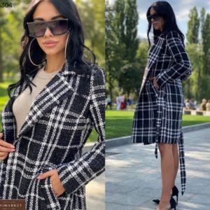 Купить черно-белое пальто для женщин в клетку на подкладке с поясом онлайн