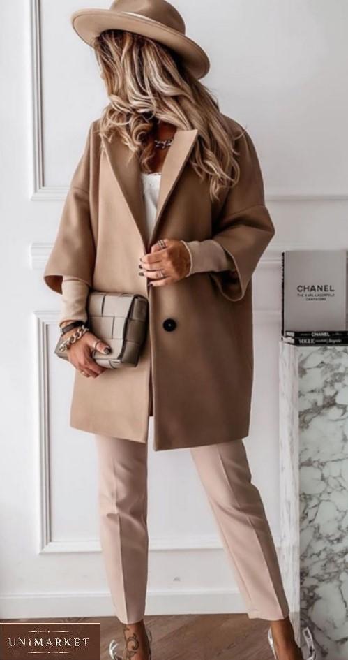 Заказать беж для женщин пальто оверсайз со спущенной линией плеча (размер 42-52) онлайн