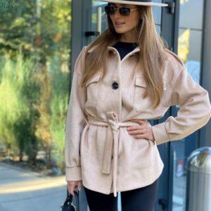 Замовити жіноче нюд пальто-сорочка з кашеміру на підкладці зі знижкою на осінь
