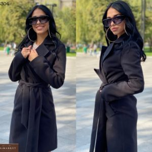 Заказать черное классическое пальто для женщин из турецкого кашемира онлайн