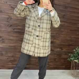 Приобрести цвета кэмел пальто спортивного кроя из твида в клетку по скидке для женщин на осень