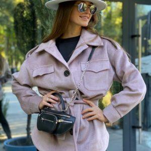 Купити бузкове пальто-сорочка з кашеміру на підкладці для жінок в інтернеті