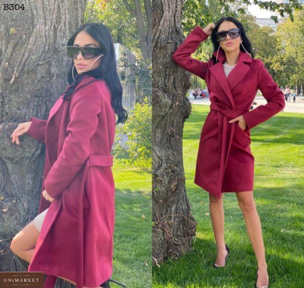 Купить цвета марсала классическое пальто для женщин из турецкого кашемира по скидке