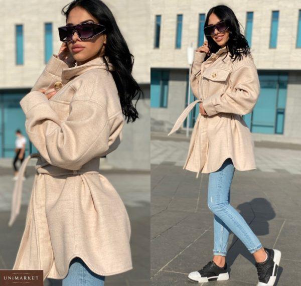 Заказать женское бежевое пальто oversize с карманами по скидке