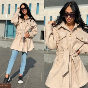 Купить в интернете бежевое пальто oversize с карманами по низким ценам женское