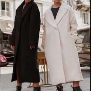 Приобрести черное, молочное длинное универсальное пальто оверсайз для женщин в Украине