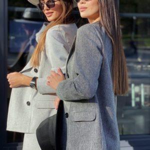 Купить на осень женский пиджак из твида на подкладке по низким ценам светло-серый, графит