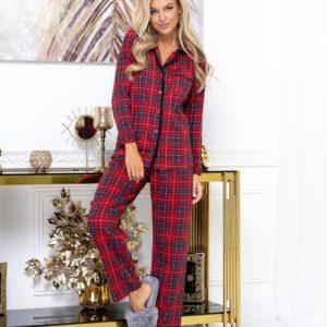 Заказать красную пижаму для женщин в клетку из интерлока (размер 42-52) недорого