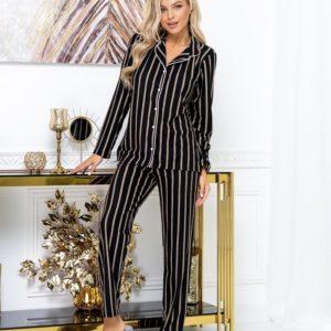 Купити смугасту жіночу піжаму з інтерлок (розмір 42-52) чорного кольору недорого