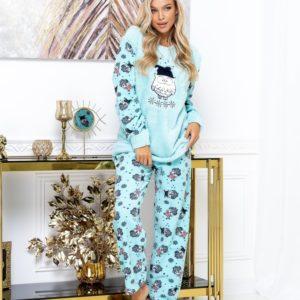 Заказать голубую женскую теплую пижаму из плюша с принтом (размер 42-52) недорого